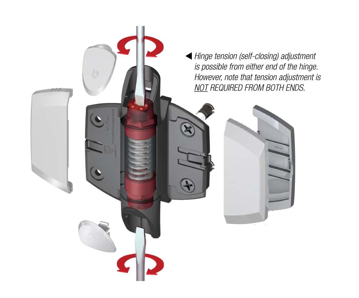 Adjustable Glass Gate Closing Hinge Per Pair Fits 50mm