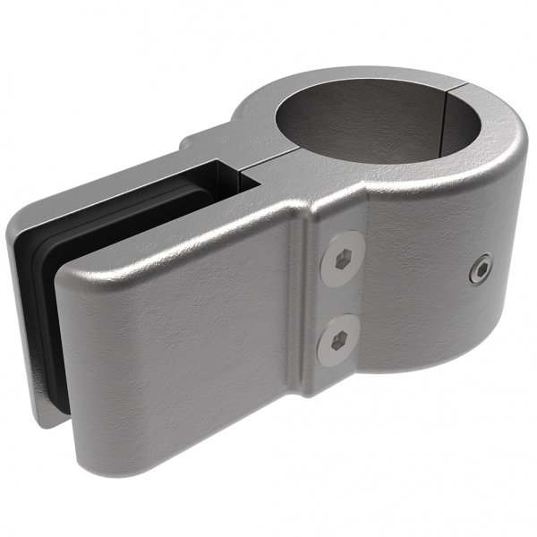 Single Galv Glass Clamp For 48 3mm Tube C/W 2mm EPDM Rubber Gaskets